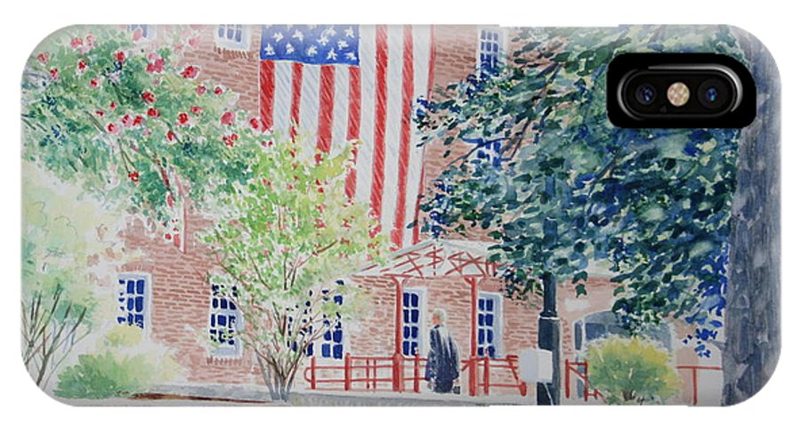 City Scape IPhone X Case featuring the painting City Hall Old Town Alexandria Virginia by Tom Harris