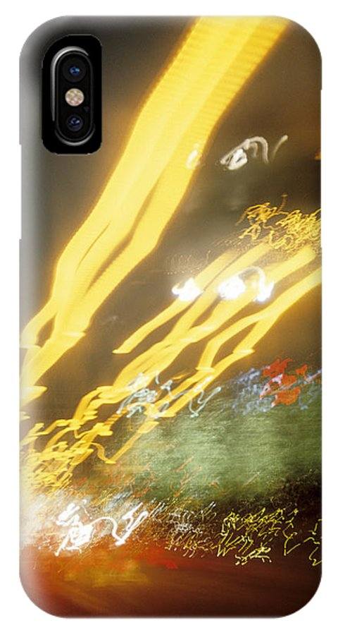 Abstract IPhone Case featuring the photograph City Lights-5 by Steve Somerville