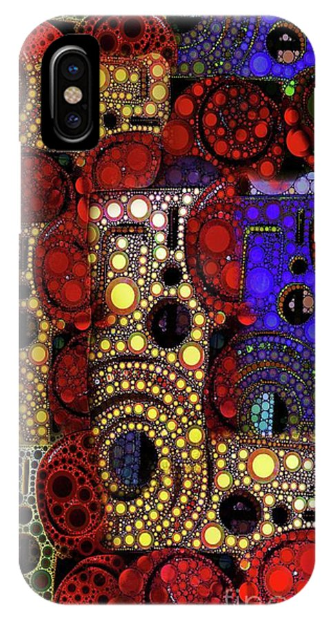 Abstract IPhone X Case featuring the digital art City Lights by Ron Bissett