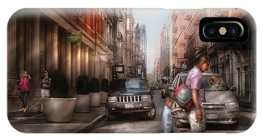 Savad IPhone X Case featuring the photograph City - Ny - Walking Down Mercer Street by Mike Savad