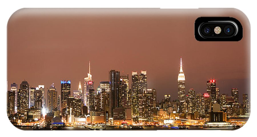 New York City IPhone X Case featuring the photograph City Of Gold by Elvira Pinkhas