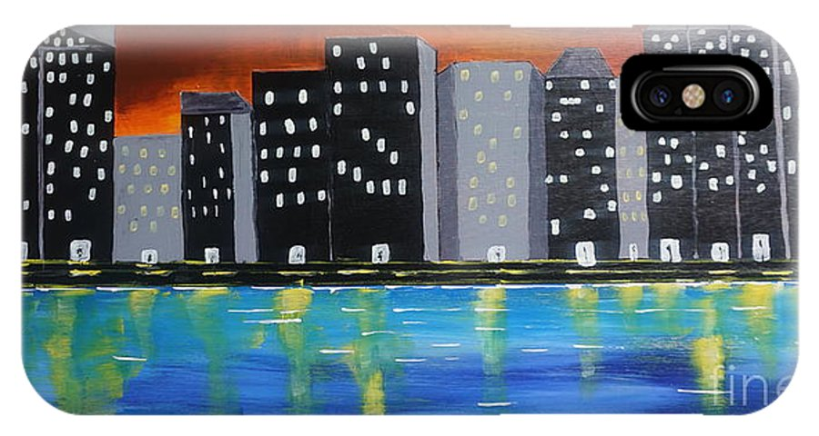 Acrylic IPhone X Case featuring the painting City Scape_night Life by Jimmy Clark