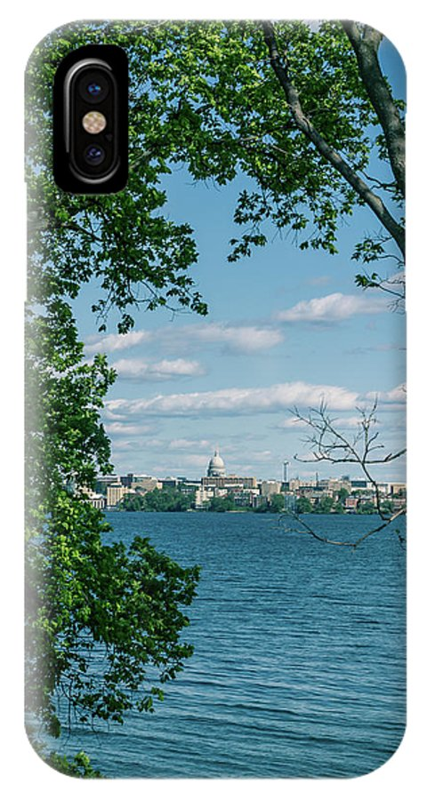 Madison IPhone X Case featuring the photograph City Through The Trees by Rockland Filmworks