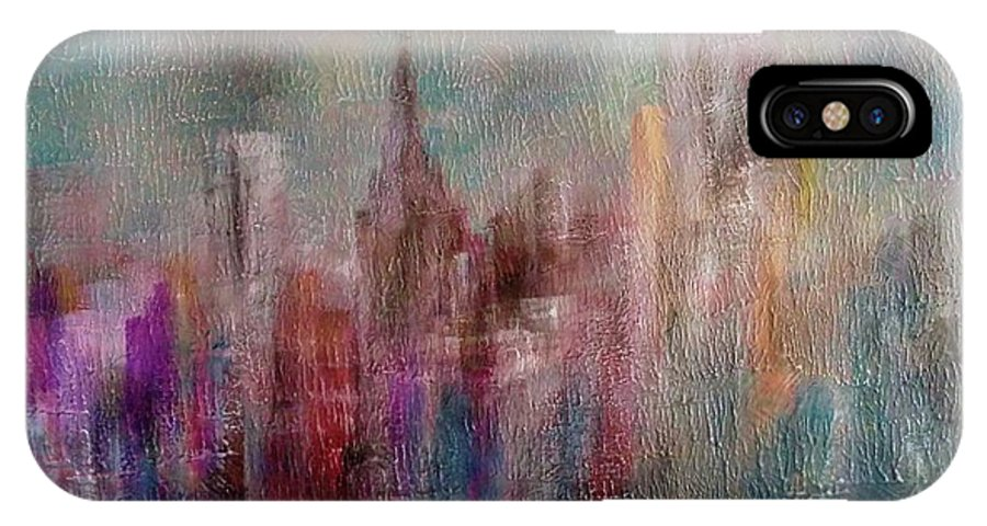 IPhone X Case featuring the painting Cityscape by Anthony Camilleri
