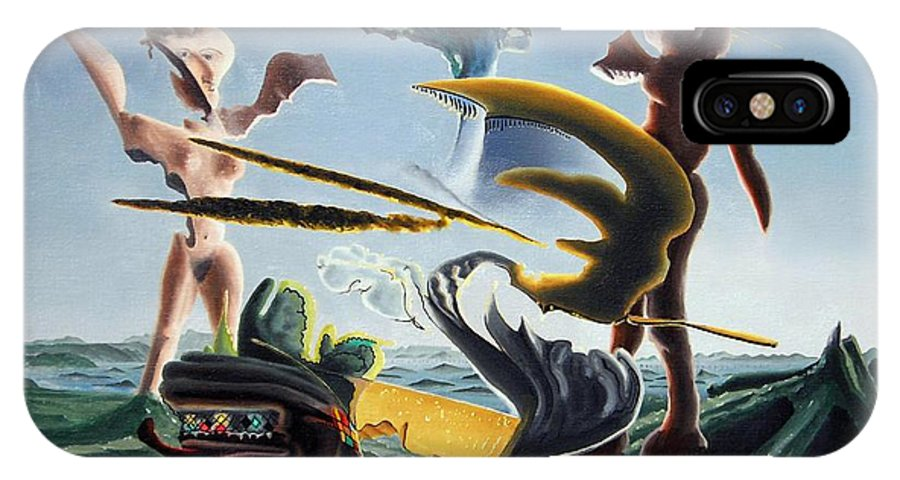 Landscape IPhone Case featuring the painting Civilization Found Intact by Dave Martsolf