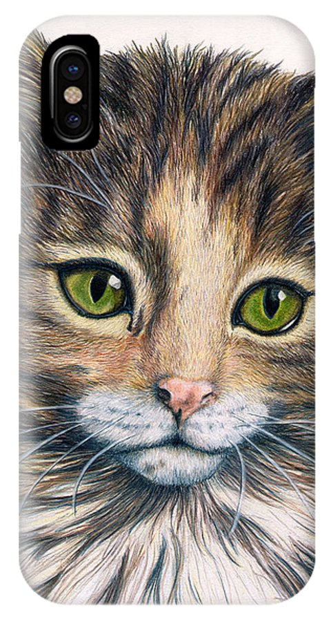 Cat IPhone X / XS Case featuring the drawing Clarice by Kristen Wesch