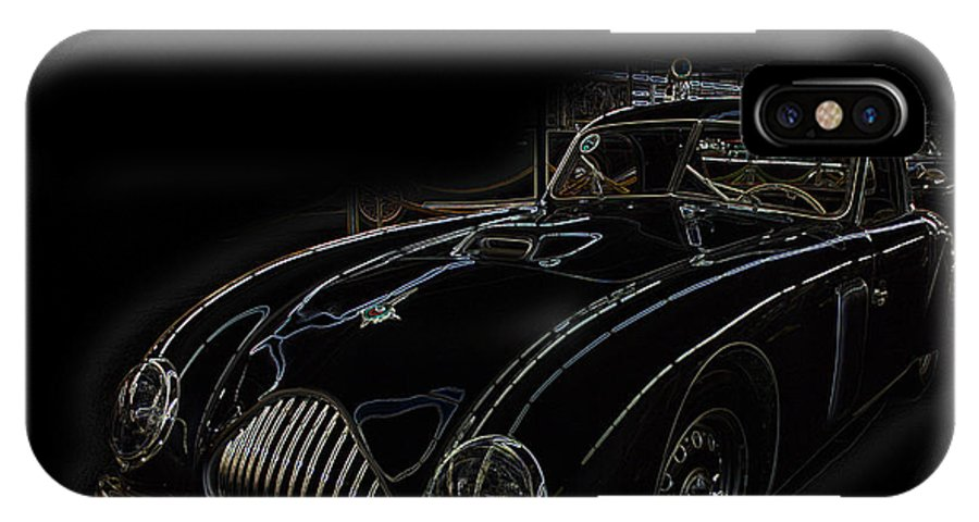 Classic Car Antique Show Room Vehicle Glowing Edge Black Light Chevy Dodge Ford Ride IPhone X Case featuring the photograph Classic 2 by Andrea Lawrence