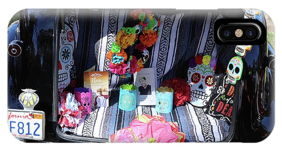 Dia De Los Muertos IPhone X Case featuring the photograph Classic Car Day Of Dead Decor Trunk by Chuck Kuhn