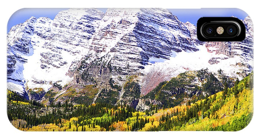 Americana IPhone X Case featuring the photograph Classic Maroon Bells by Marilyn Hunt