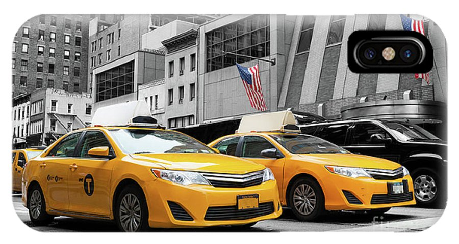 Street IPhone X / XS Case featuring the photograph Classic Street View Of Yellow Cabs In New York City by Antonio Gravante