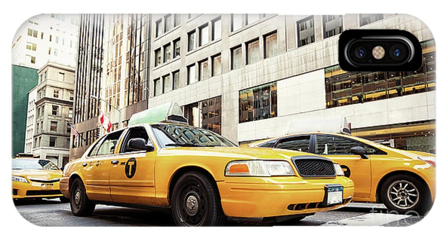 Street IPhone X / XS Case featuring the photograph Classic Street View With Yellow Cabs In New York City by Antonio Gravante