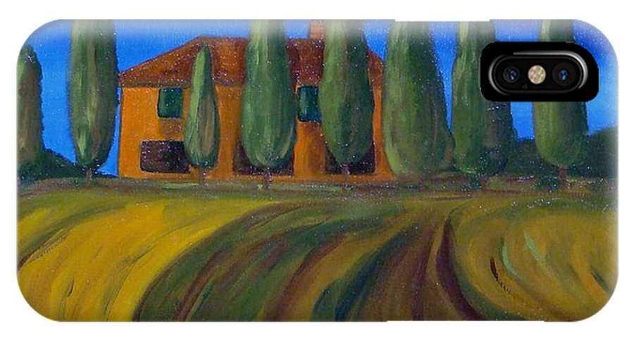 Tuscany IPhone X Case featuring the painting Classic Tuscan Sunset by Laurie Morgan