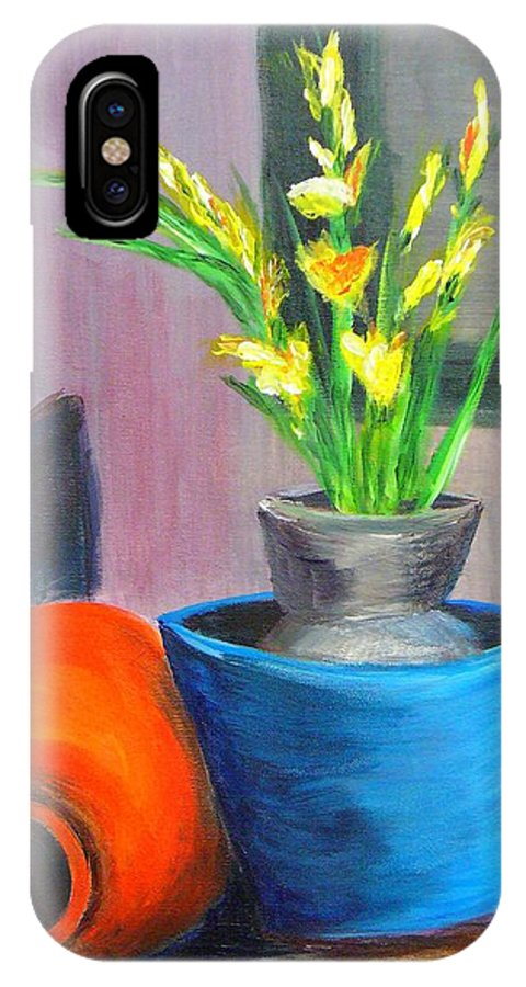 Abstract IPhone X Case featuring the painting Clay Display by Peggy King