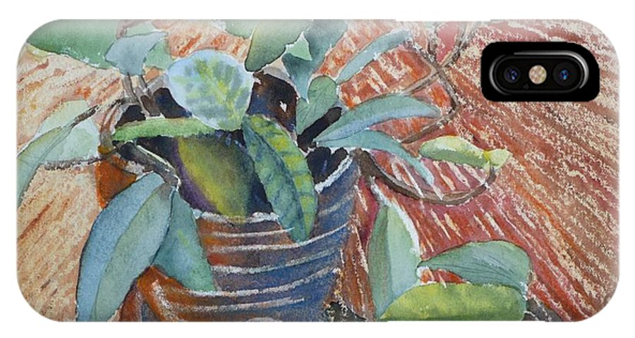 Vine IPhone X Case featuring the painting Clay Pot by Ruth Kamenev
