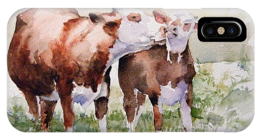 Cows IPhone X Case featuring the painting Clean Behind The Ears by Debra Jones