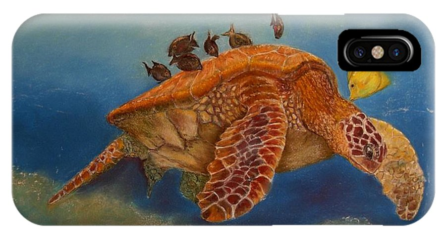 Turtle IPhone X Case featuring the painting Cleaning Station by Ceci Watson