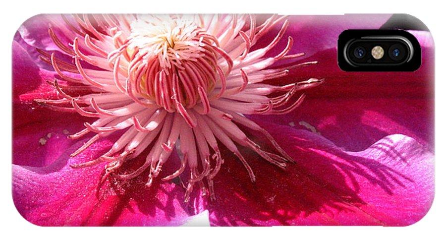 Clematis IPhone X Case featuring the photograph Clematis Bloom.. by Jolanta Anna Karolska
