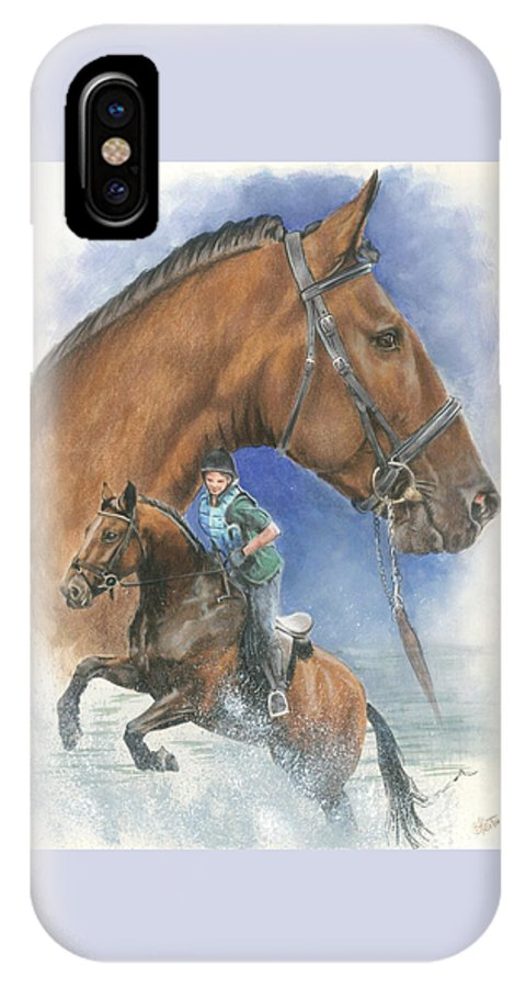 Hunter Jumper IPhone X Case featuring the mixed media Cleveland Bay by Barbara Keith