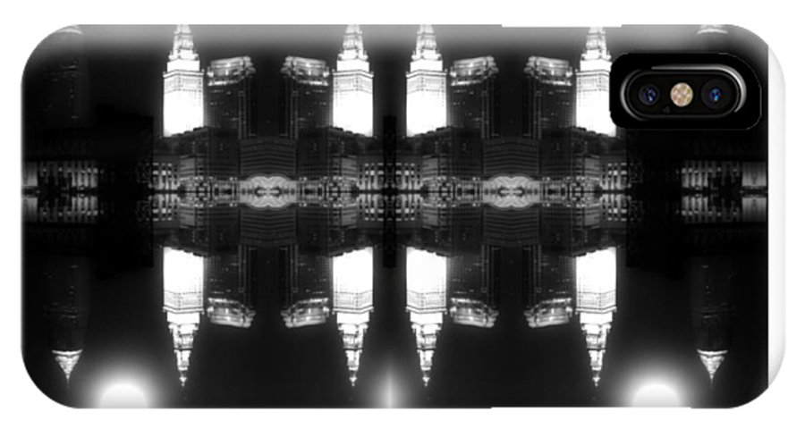 Cleveland IPhone X Case featuring the photograph Cleveland Black White Night by Kenneth Krolikowski