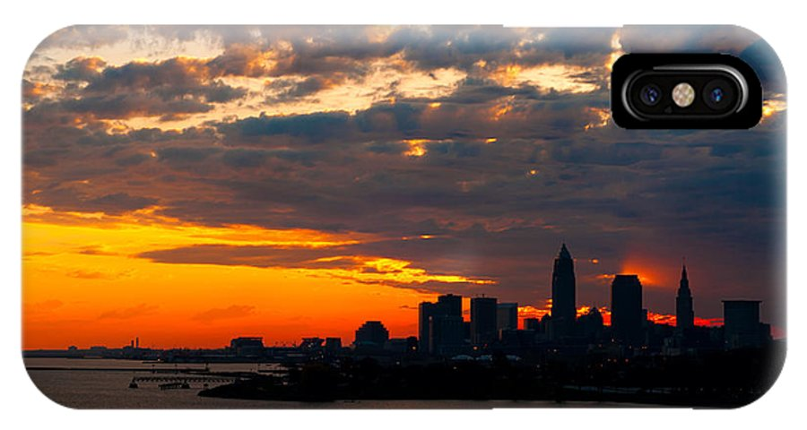 America IPhone X Case featuring the photograph Cleveland Dawn by Kenneth Sponsler