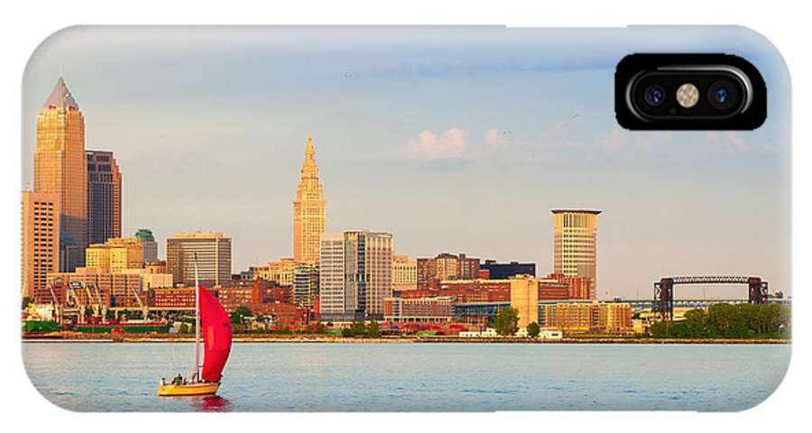 Cleveland IPhone X Case featuring the photograph Cleveland On The Lake by Kenneth Sponsler