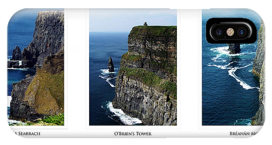 Irish IPhone X Case featuring the photograph Cliffs of Moher Ireland Triptych by Teresa Mucha