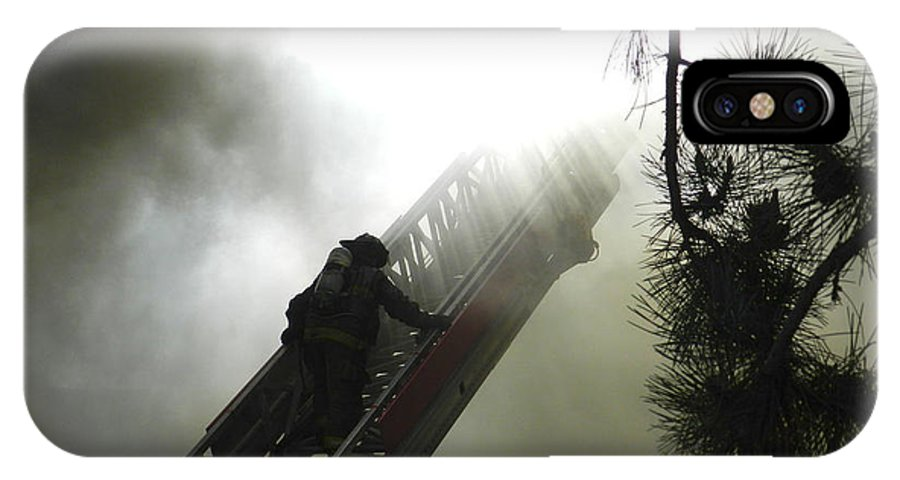 Firefighter IPhone X / XS Case featuring the photograph Climbing Into The Light by Richard Greiner