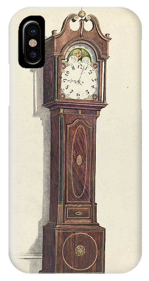IPhone X Case featuring the drawing Clock by Louis Annino And Harry Eisman And Arsen Maralian