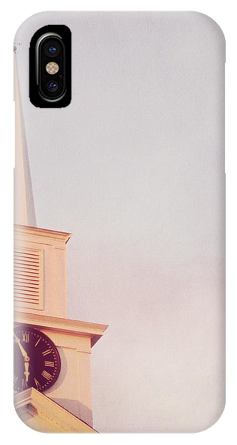 Blue IPhone X Case featuring the photograph Clock Steeple by JAMART Photography