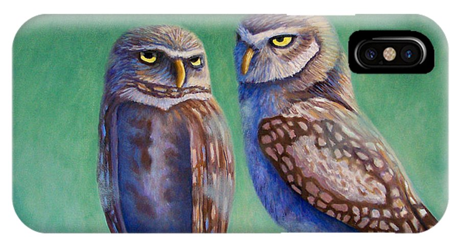 Owls IPhone X Case featuring the painting Close Encounters by Brian Commerford