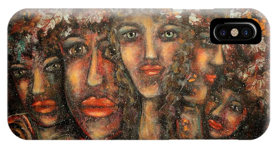 Expressionism IPhone X Case featuring the painting Close Friends by Natalie Holland