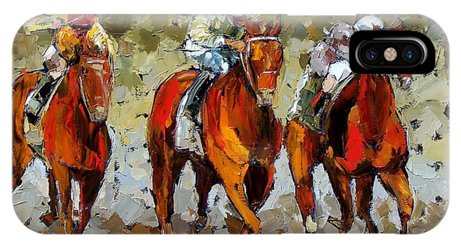 Horses IPhone X Case featuring the painting Close Race by Debra Hurd