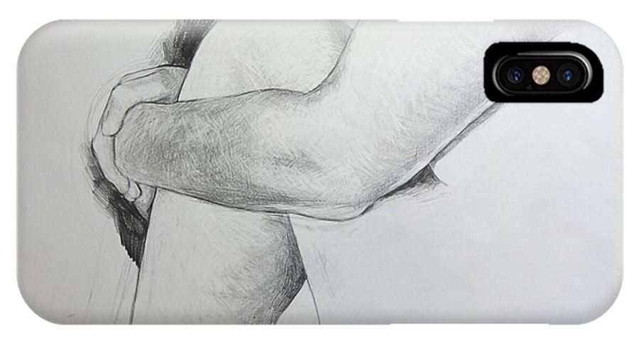 Llife IPhone X Case featuring the drawing Close Up Of Life Figure. by Harry Robertson