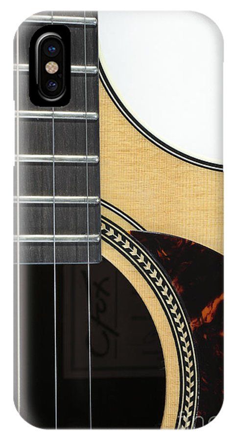 Cutaway IPhone X Case featuring the photograph Close-up Of Steel-string Guitar by William Kuta