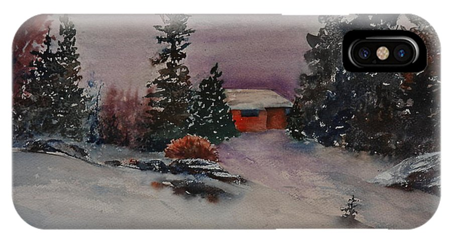 Cottage IPhone X Case featuring the painting Closed For The Season by Ruth Kamenev