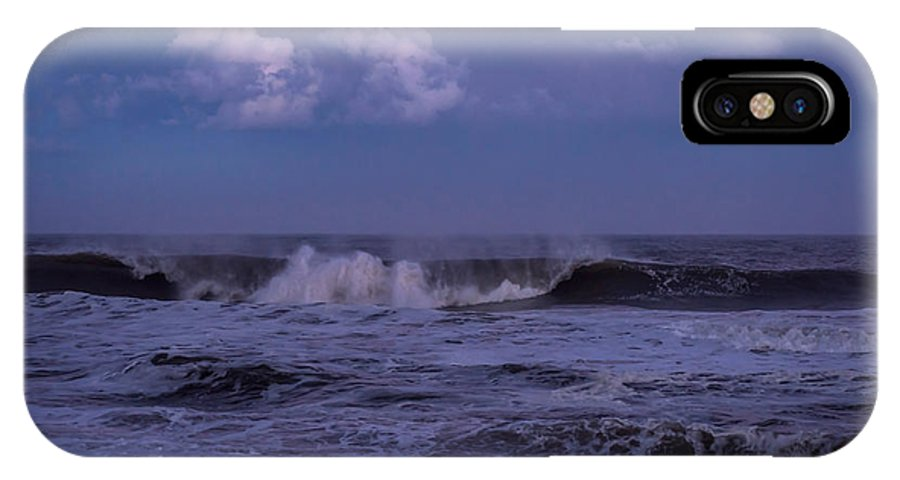 Terry D Photography IPhone X / XS Case featuring the photograph Cloud And Wave Seaside New Jersey by Terry DeLuco