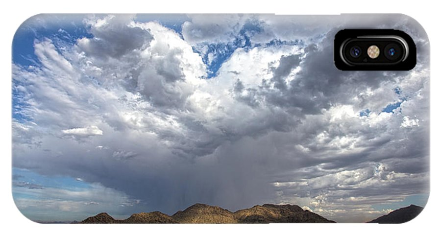 Arizona IPhone X Case featuring the photograph Cloud Burst Over Mummy Mountain by Cathy Franklin