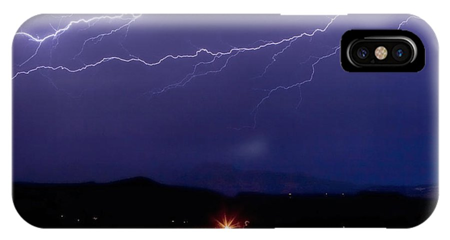 Lightning IPhone X Case featuring the photograph Cloud To Cloud Horizontal Lightning by James BO Insogna