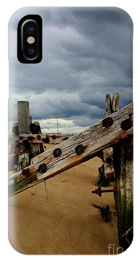 Plum Island IPhone X / XS Case featuring the photograph Clouds And Wooden Structure by John Kenealy