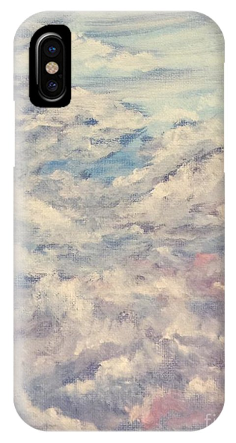 Sky IPhone X Case featuring the painting Clouds by Stephon Wright