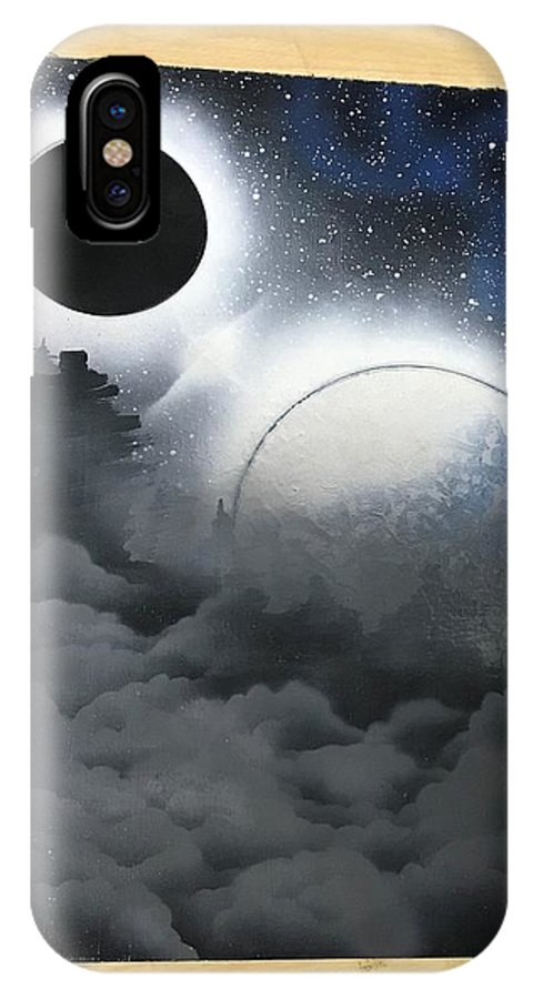 Planets IPhone X Case featuring the painting Cloudy Nite by Michael Garcia