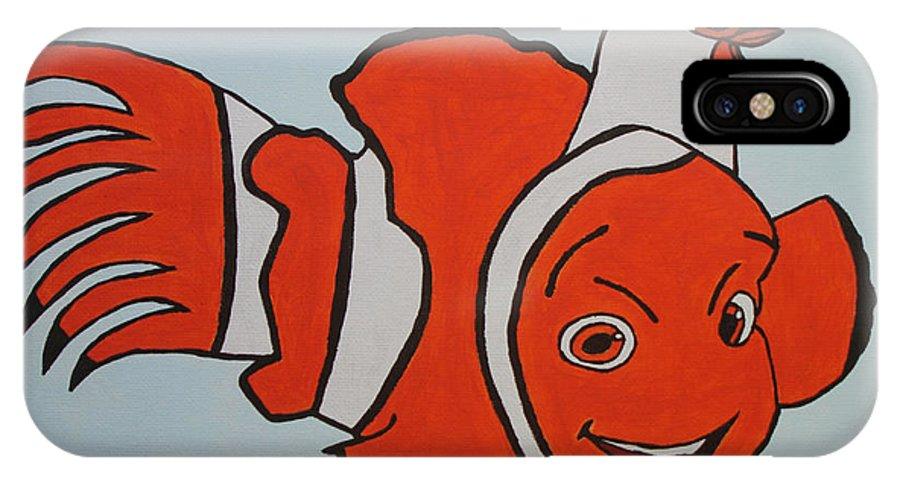 Nemo IPhone X Case featuring the painting Clown Fish by Tami Maldonado
