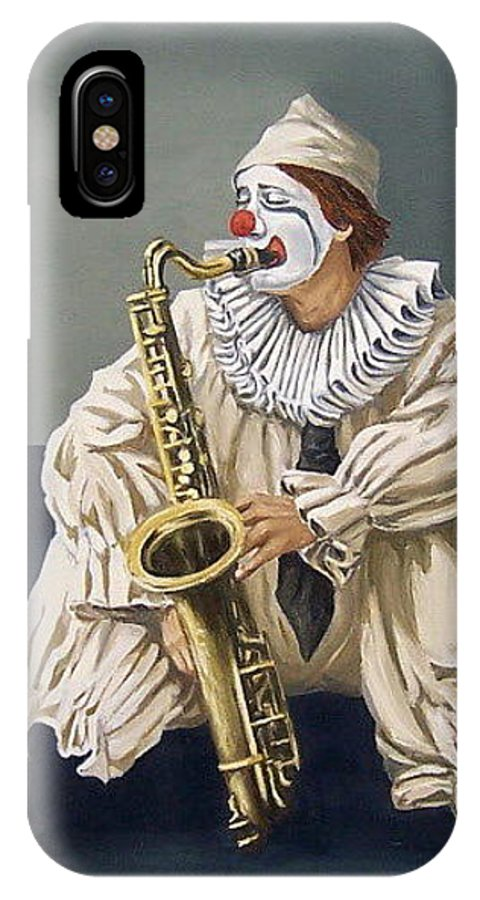 Clown Figurative Portrait People IPhone X Case featuring the painting Clown by Natalia Tejera
