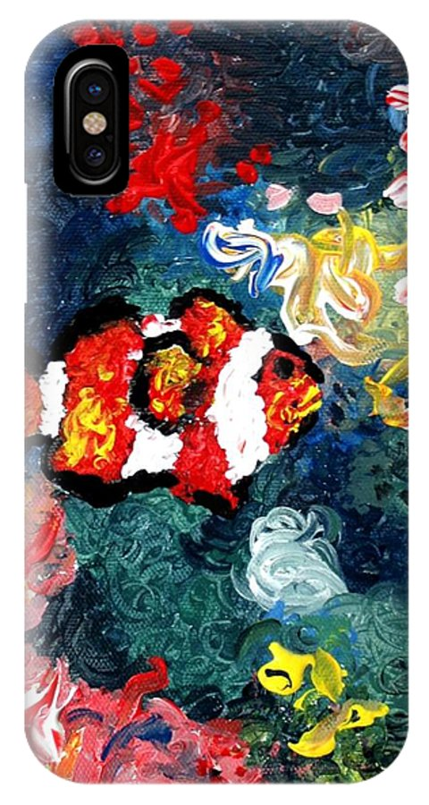 Fish IPhone X Case featuring the painting Clownfish by Luiza Vizoli