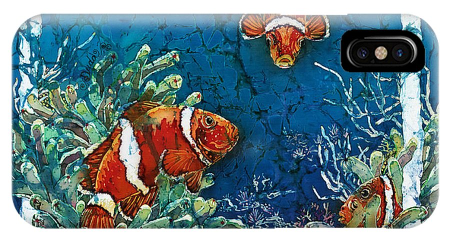 Ocean IPhone X / XS Case featuring the painting Clowning Around - Clownfish by Sue Duda