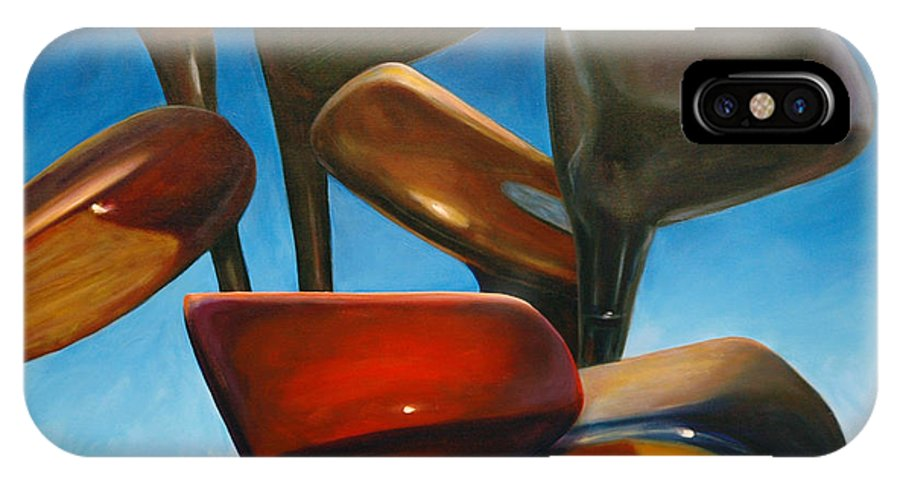 Golf Clubs Brown IPhone X Case featuring the painting Clubs Rising by Shannon Grissom