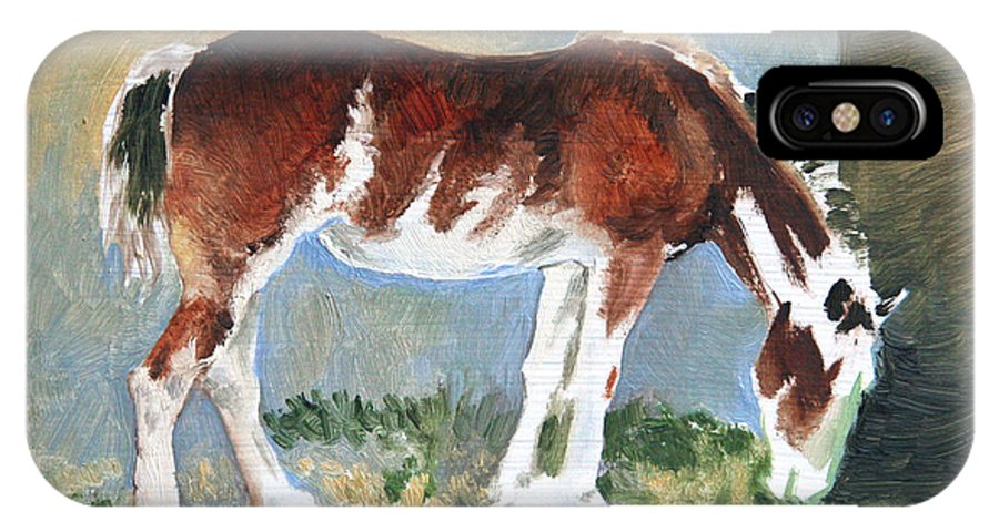 Horse IPhone X Case featuring the painting Clydesdale Colt Pad by Eileen Hale