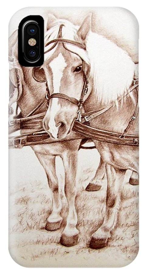 Horses IPhone X Case featuring the drawing Coach Horses by Nicole Zeug