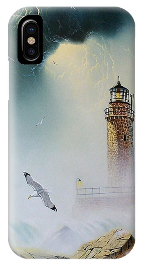 Lighthouse IPhone X Case featuring the painting Coastal Light by Don Griffiths