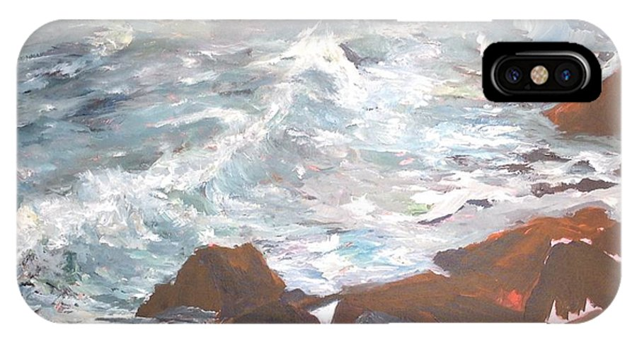 Action IPhone X Case featuring the painting Coastal Surf by Beverly Hubley